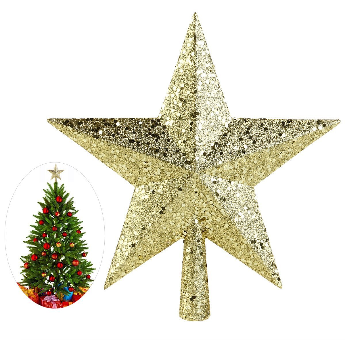 NICEXMAS Christmas Tree Toppers Star Treasures Glittered Decoration ...