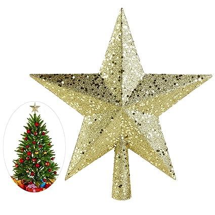 Puntale Albero Di Natale.Nicexmas Puntale A Forma Di Stella Per Albero Di Natale Decorazione Ricca Di Brillantini Ornamento Da 23 Cm Color Oro 11 5