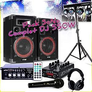 Pack Sono completo DJ 550 W – 2 altavoces MAX + amplificador USB ...