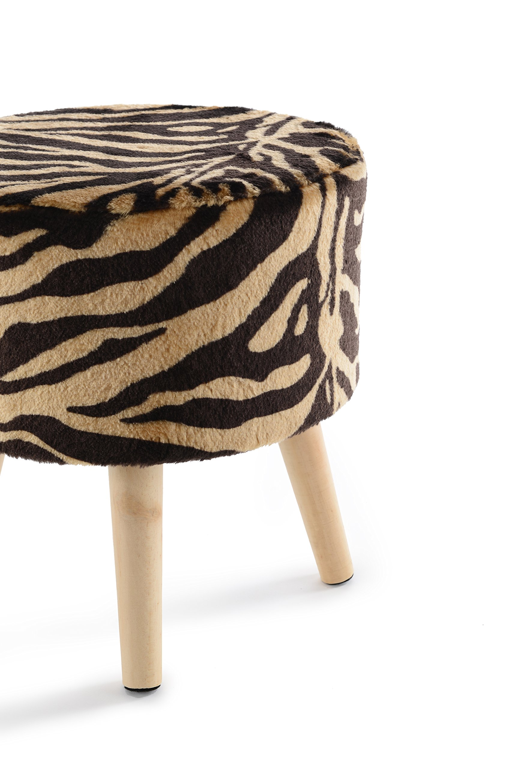Cheer Collection 13'' Round Ottoman | Super Soft Decorative Tiger Print Faux Fur Foot Stool with Wood Legs by Cheer Collection (Image #9)