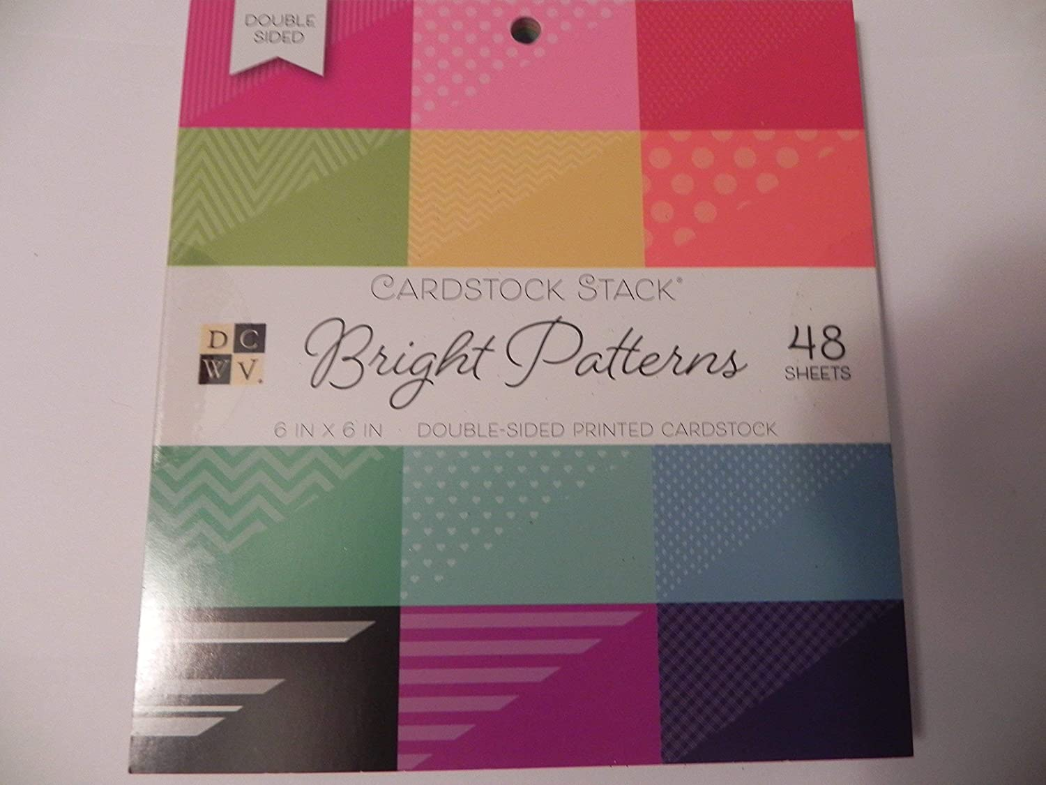 """American Crafts DCWV 6"""" x 6"""" Premium Mat Stacks Bright Patterns (Double Sided) - 48 Sheets - Acid-Free Cardstock"""