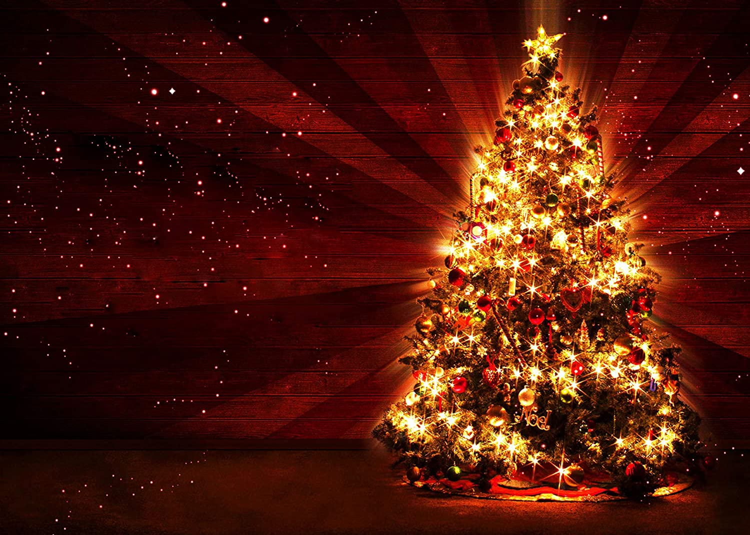 LYLYCTY 7x5ft Bright Christmas Tree Background Full of Decorating Dark red Backdrops Party Decor Portrait Photo Booth Studio Props Wallpaper LYLS1089