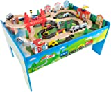 Wooden Train Set Table for Kids Deluxe Had Painted Wooden Set  sc 1 st  Amazon.ca & Kidkraft Airport Express Train Table (Espresso) - TABLE ONLY - Play ...