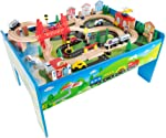 Wooden Train Set Table for Kids, Deluxe Had Painted Wooden Set