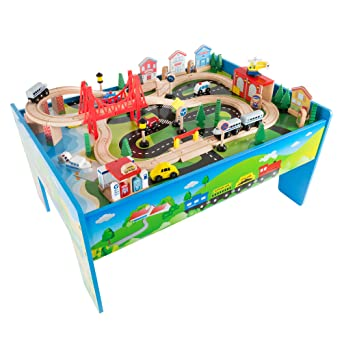 Amazon.com: Wooden Train Set Table for Kids, Deluxe Had Painted ...