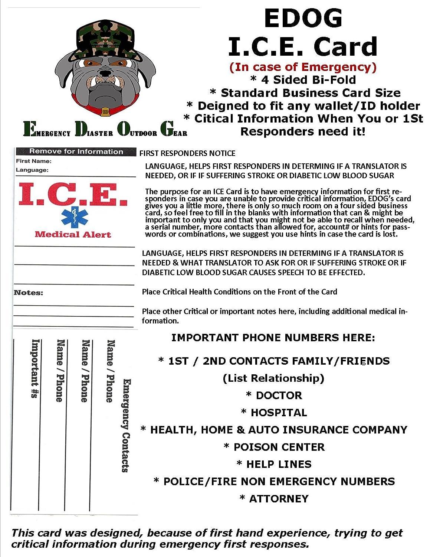 Amazon 4 edog ice emergency travel medical alert foldable amazon 4 edog ice emergency travel medical alert foldable business sized tent card travel accessories reheart Choice Image