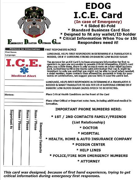 Amazon 1 edog ice emergency travel medical alert foldable amazon 1 edog ice emergency travel medical alert foldable business sized tent card travel wallets reheart Choice Image