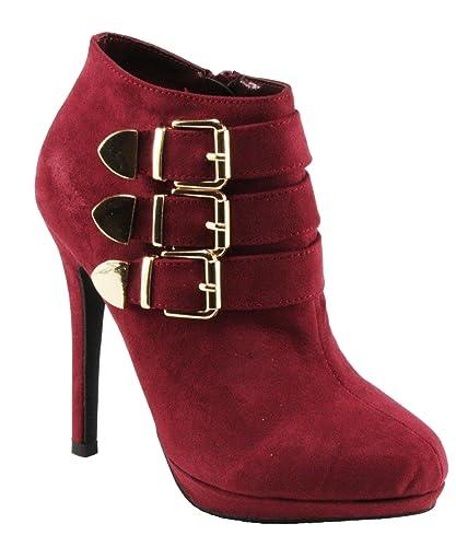 Women's Mabel-78 Faux Suede Almond Toe Platform Ankle High High Heel Dress Booties