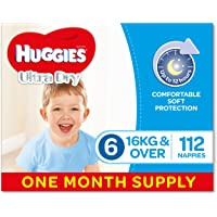 Huggies Ultra Dry Nappies, Boys, Size 6 Junior (16kg+), 112 Count, One-Month Supply, Packaging May Vary