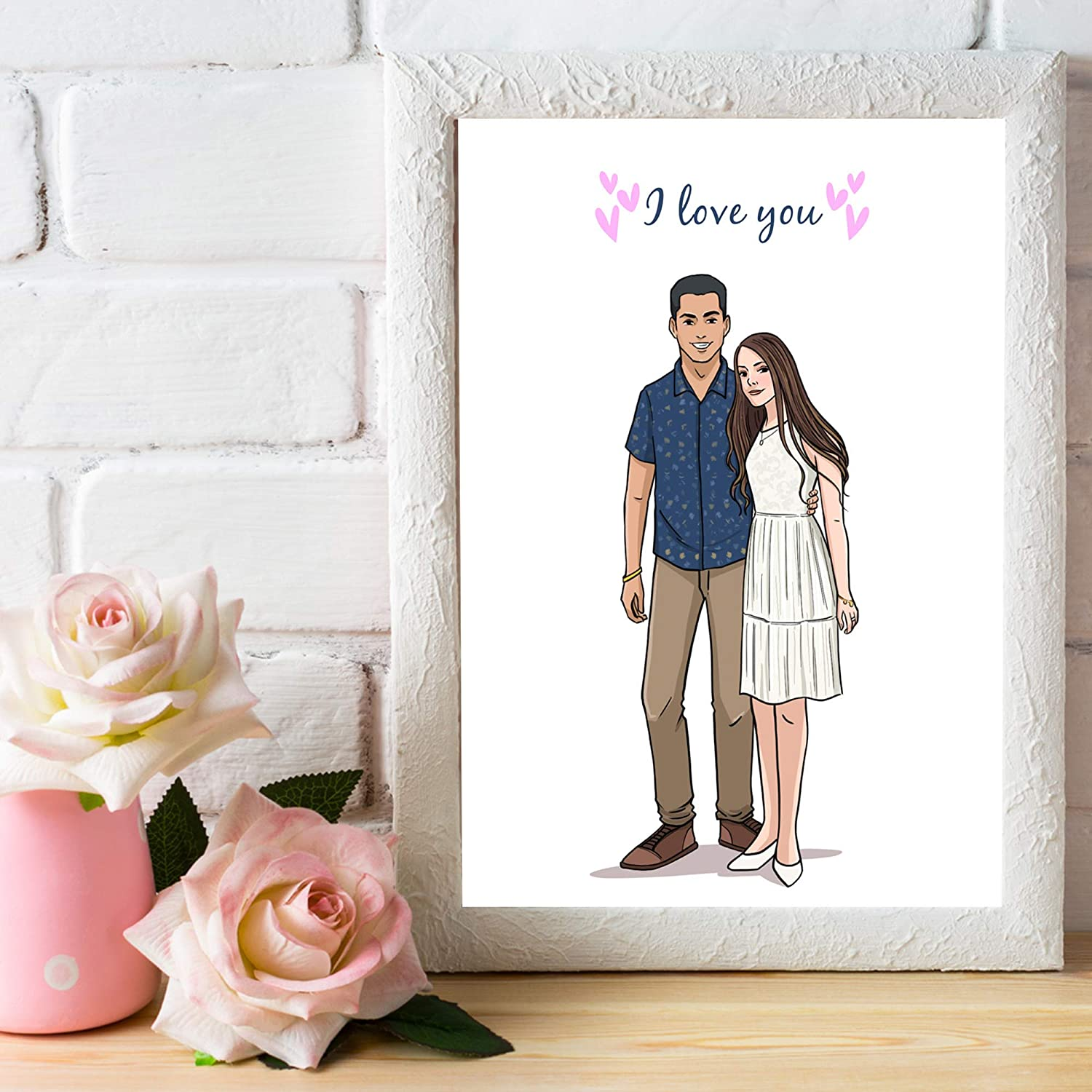 Personalized Anniversary Gift For Boyfriend - Custom Hand Drawn Portrait Of Couple - Sentimental Relationship Keepsake To Say I Love You