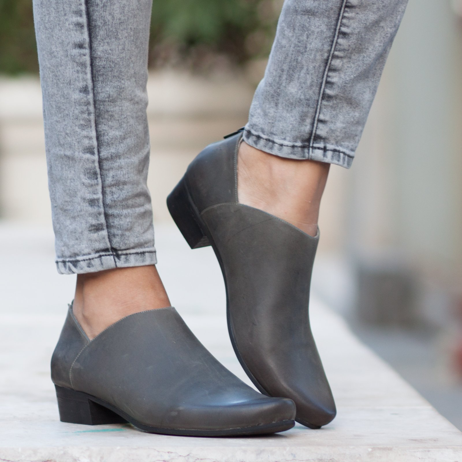 Grey Women's Leather Handmade Ankle Boots