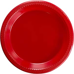 Exquisite Plastic Dessert/Salad Plates - Solid Color Disposable Plates - 100 Count (10 Inch., Red)