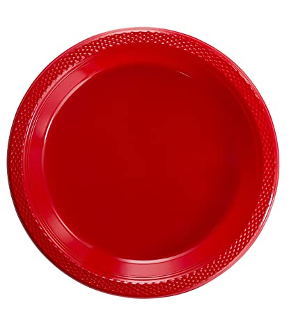 Exquisite 9 Inch. Red plastic plates - Solid Color Disposable Plates - 100 Count  sc 1 st  Amazon.com & Amazon.com: Exquisite 9 Inch. Red plastic plates - Solid Color ...