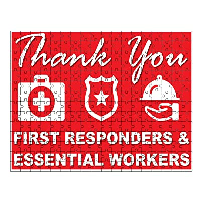 RED with icons Thank You Stay Safe, Health Care, First Responders, Essential Workers Jigsaw Puzzle (252 piece) by M&R: Kitchen & Dining