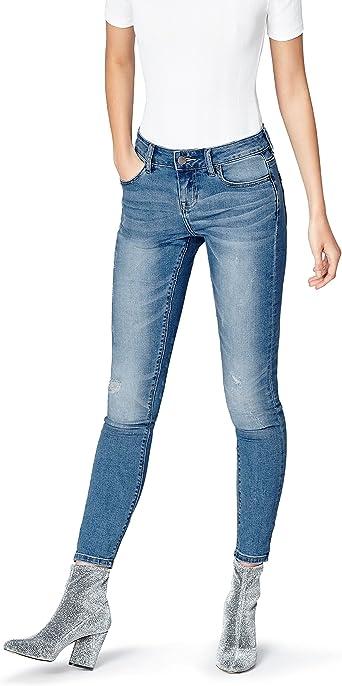 Amazon Marke: find. Damen Verkürzte Skinny Jeans mit dekorativen Rissen und heller Waschung