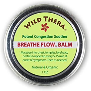 Wild Thera Breathe Flow Balm. Congestion Relief, Allergies, Cold Sinus Relief, Chest Congestion, stuffy Nose & Sinus Flush. Can be Used with Sinus Rinse kit, Sinus Cleaner, Herbal Tea and neti Pot.