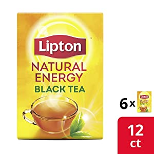 Lipton K-Cups for Keurig Brewers Natural Energy Black Tea 100% Rainforest Alliance Certified 12 K-Cups pods