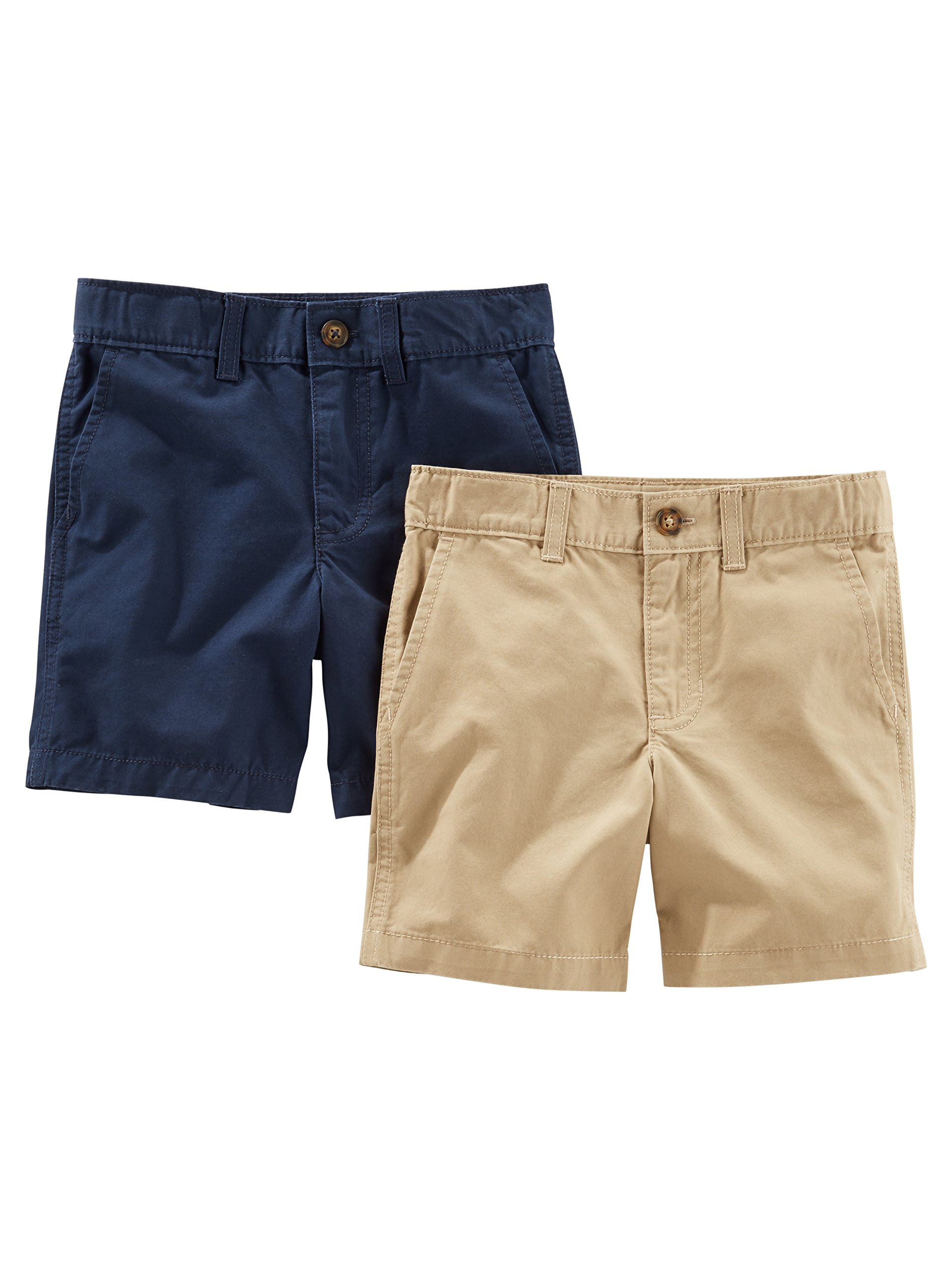 Simple Joys by Carter's Baby Boys' Toddler 2-Pack Flat Front Shorts, Khaki, Navy, 3T