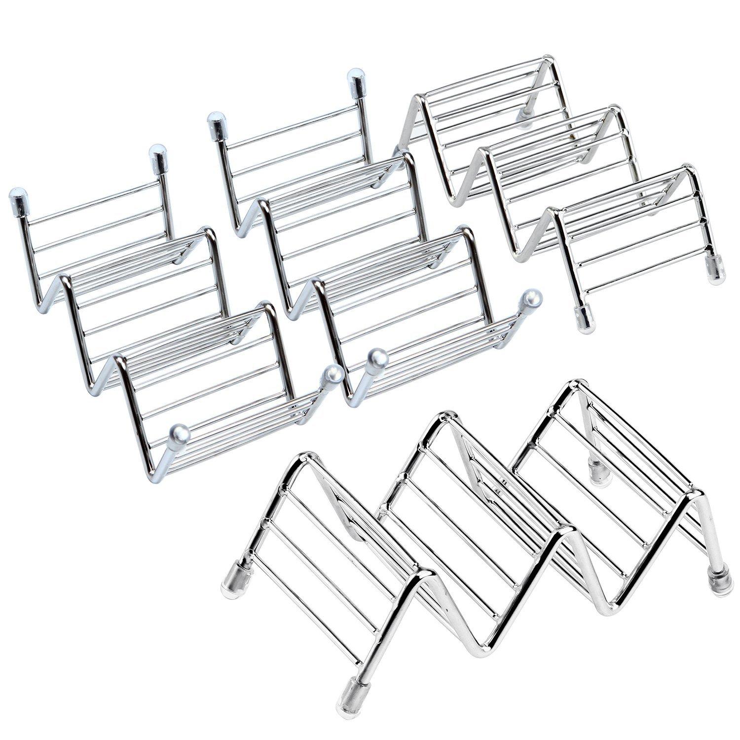 Coobey 4 Pack Stainless Steel Taco Holders Taco Stand Rustproof Taco Rack Hold 2 or 3 Hard or Soft Shell Tacos Truck Tray Style Oven Safe for Baking