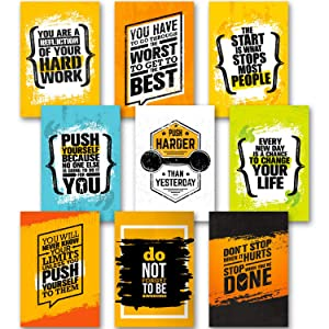 "Motivational Posters for Home Gym, Room, Office Decorations - Inspirational Fitness Quotes Wall Art - 13"" x 19"" - Workout Sports Motivation - Inspiring Students, Guys, Women, Men"