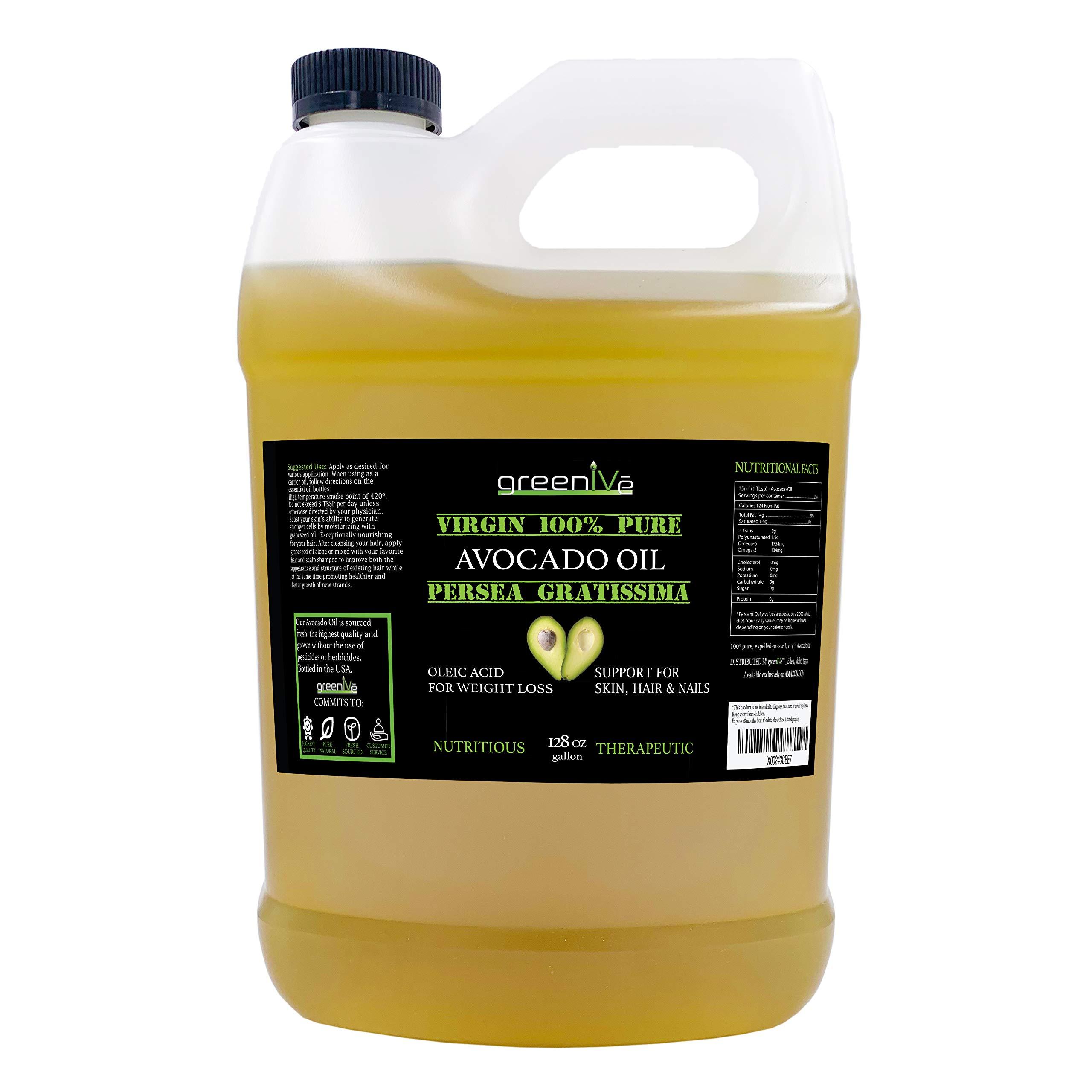 GreenIVe - Avocado Oil - 100% Pure Avocado Oil - Cold Pressed - Virgin - Exclusively on Amazon (128 Ounce (1 Gallon)) by Greenive