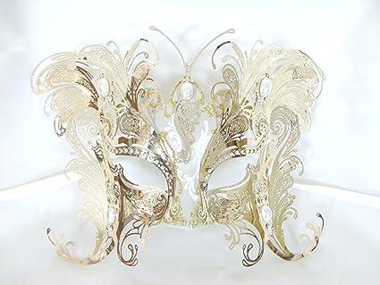 Bellini Gatti veneciano mascarada máscara de metal cortado con láser de mariposa de oro cristales de