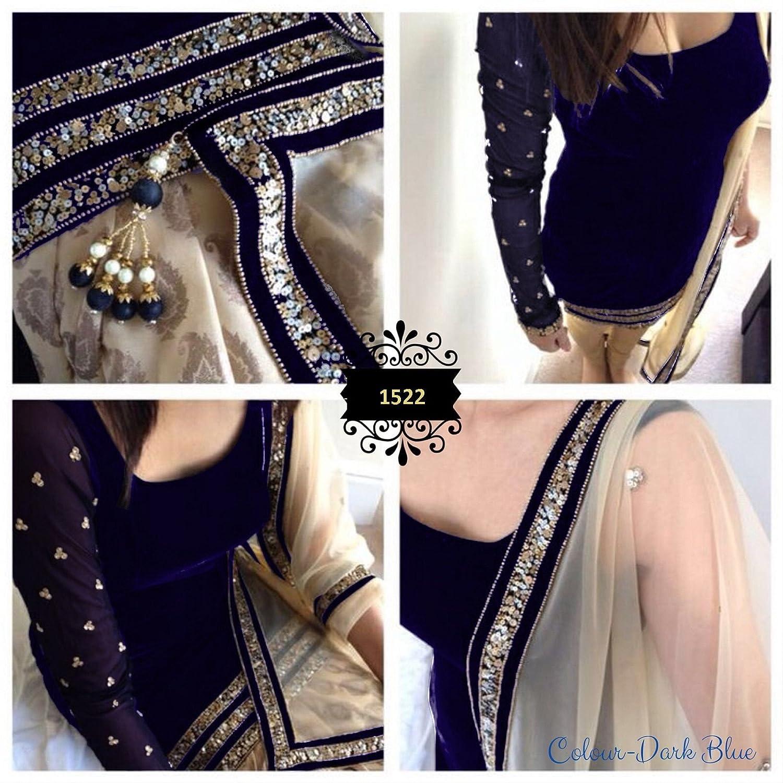 New Indian Designer Navy Blue Velvet Party Wear Salwar Suit Dress Material