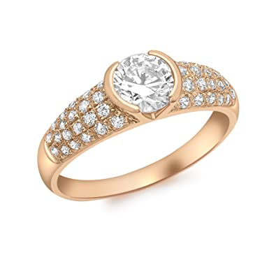 Carissima Gold Women's 9 ct Rose Gold Pave Set Cubic Zirconia Ring WIcAc0HBR