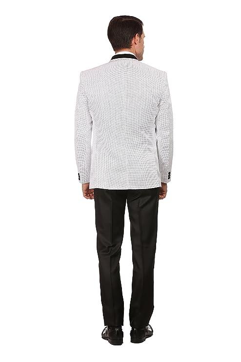 e74449dda1 White Polka Dotted Satin Peak Lapel Designer Men's 3 Piece Suit: Amazon.co. uk: Clothing