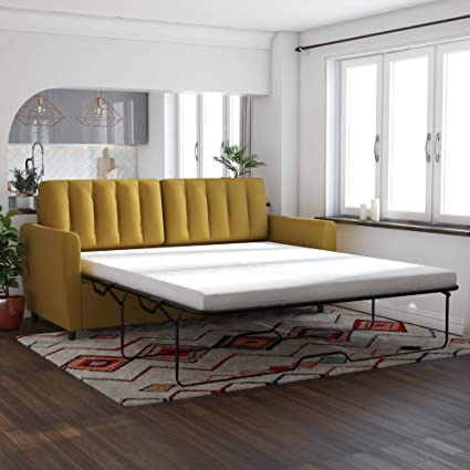 Miraculous Novogratz Brittany Sleeper Sofa With Memory Foam Mattress Mustard Queen Caraccident5 Cool Chair Designs And Ideas Caraccident5Info
