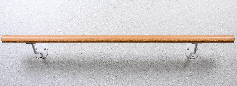 Ballettstange für Zuhause aus Holz, Weiße Wandhaltern, ca.200mm Wandabstand, 20 Längen zur Auswahl Massivholz mit stabilen mit ca.200mm Wandabstand Ballettstangen Manufaktur