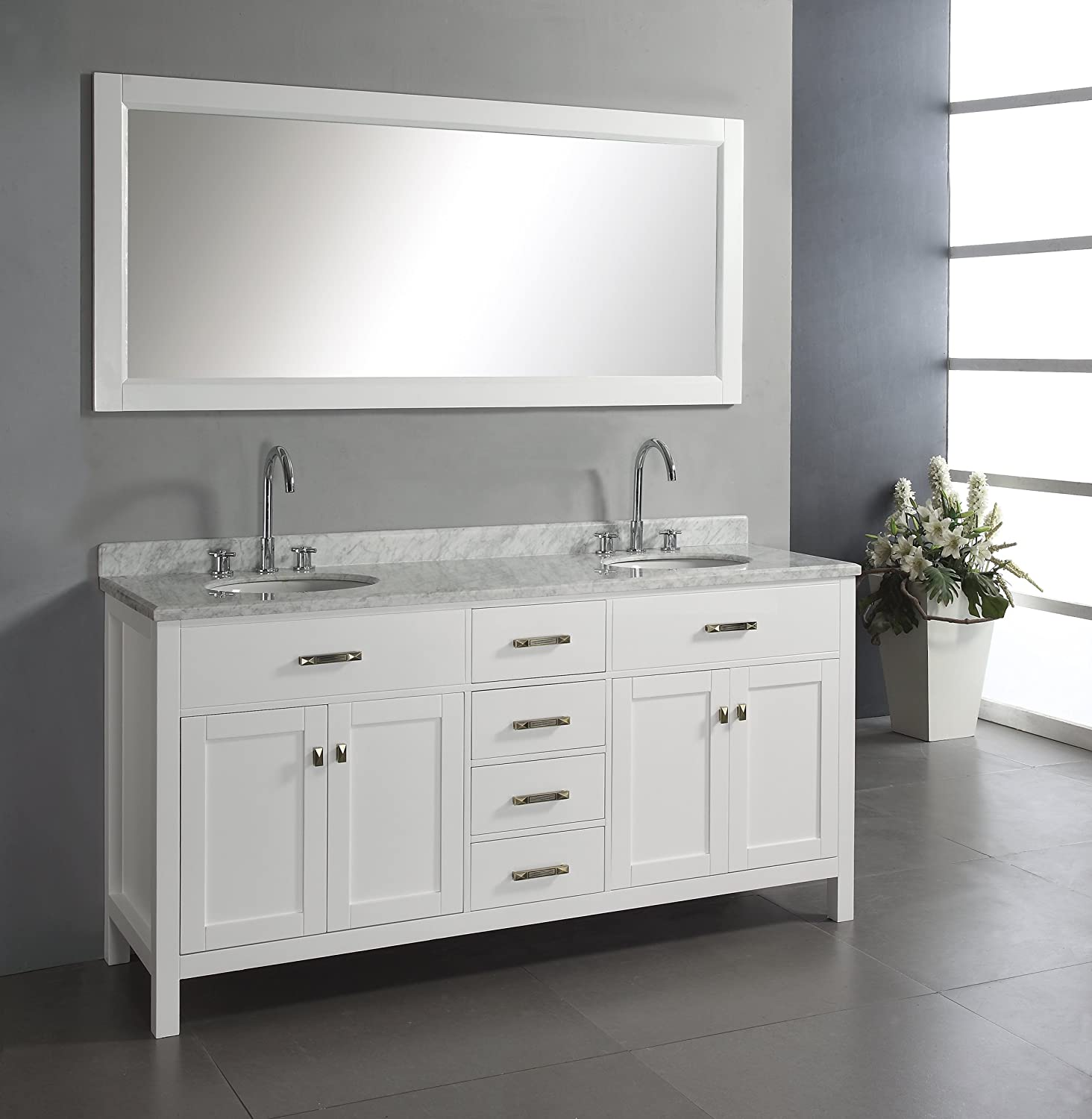 Virtu USA MD 2072 WMRO WH Caroline 72 Inch Double Sink Bathroom Vanity With  Italian White Carrera Marble Countertop And Mirror, White Finish      Amazon.com