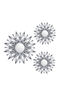 All American Collection New Separated 3 Piece Decorative Mirror Set, Wall Accent Display (Silver Star)
