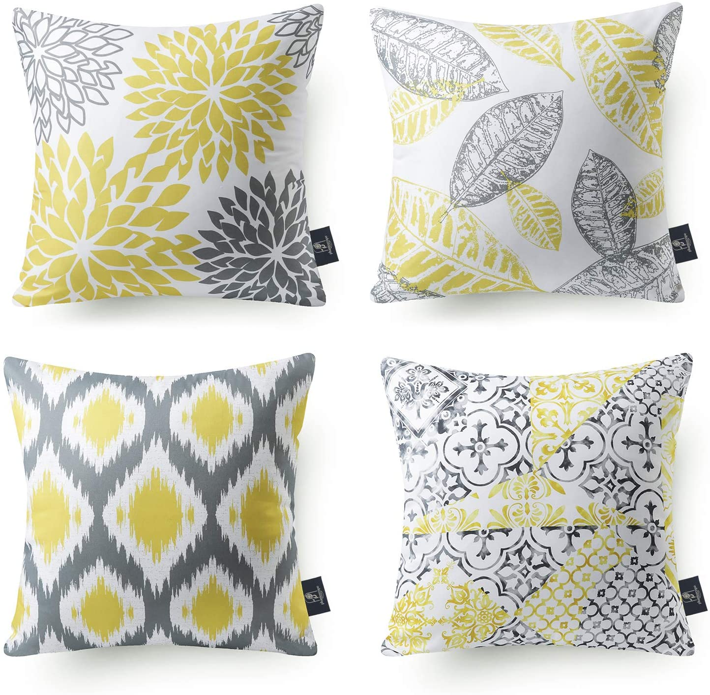 Phantoscope Set of 4 New Living Series Decorative Throw Pillow Case Cushion Cover, Yellow and Grey, 22 x 22 inches, 55 x 55 cm