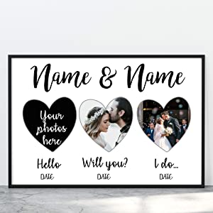 Personalized Couple Dates Wedding Photo Wall Art for Living Room Customized Canvas Decor for Mr and Mrs Bedroom Custom Framed Engagement Photo for Husband and Wife Wall Decoration (17x11 Poster)