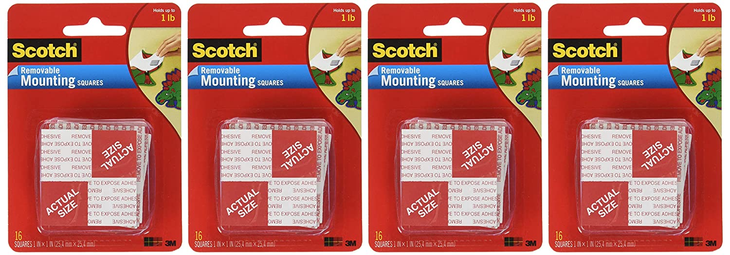 Scotch(R) Removable Mounting Squares , 1 x 1 Inches, 16 squares ,Grey, 4-PACK