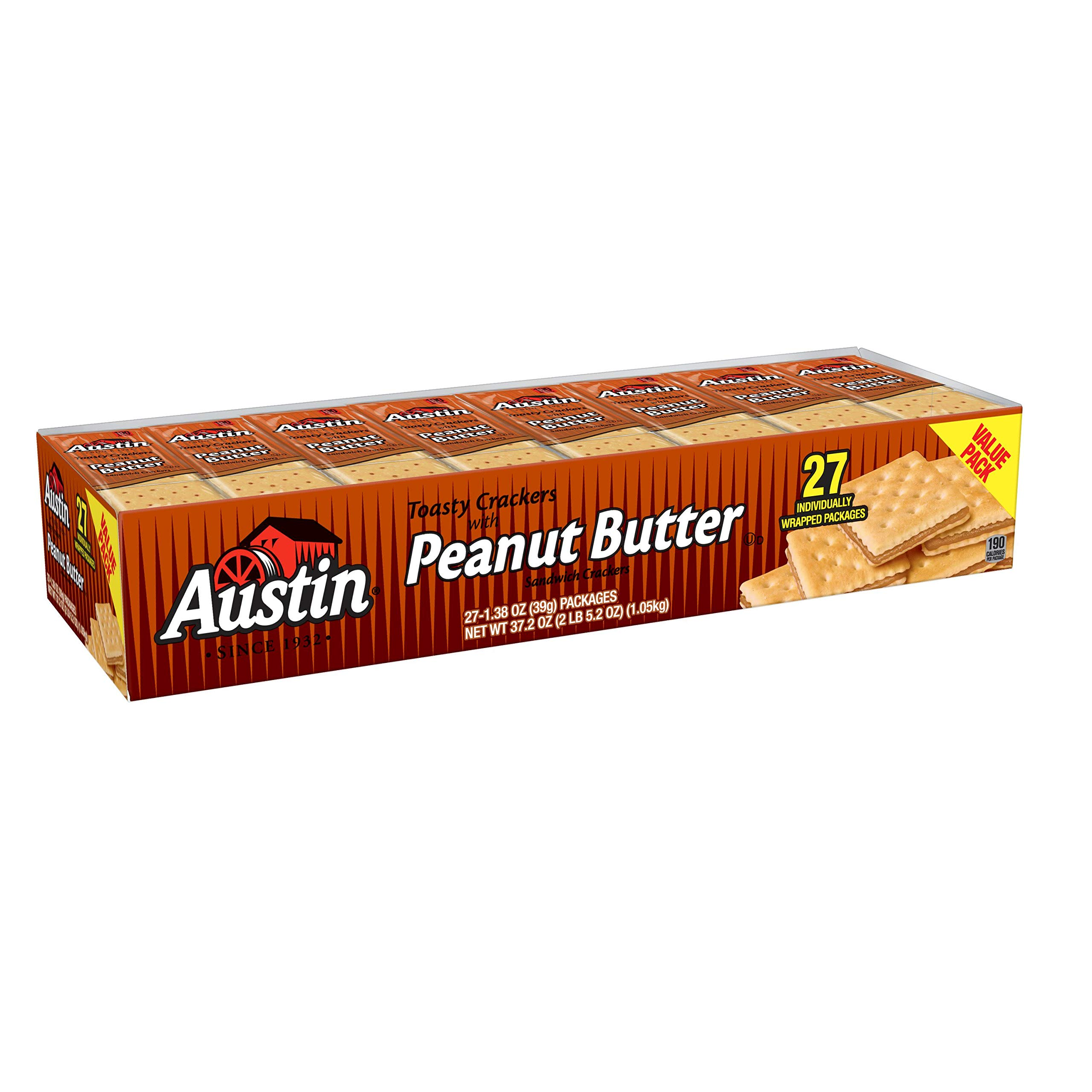 Austin Toasty Crackers with Peanut Butter Sandwich Crackers Value Pack, 1.38 Oz., 27 Count, 12 Pack by Austin