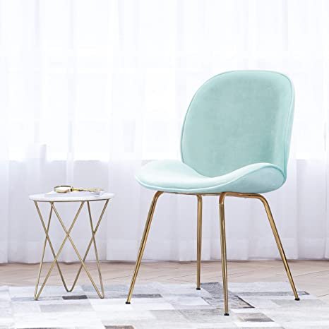 Art Leon Velvet Chair Soft Upholstered Modern Shell Beetle Leisure Chair with Gold Legs for Living Dining Room Bedroom Dresser (Candy Green)