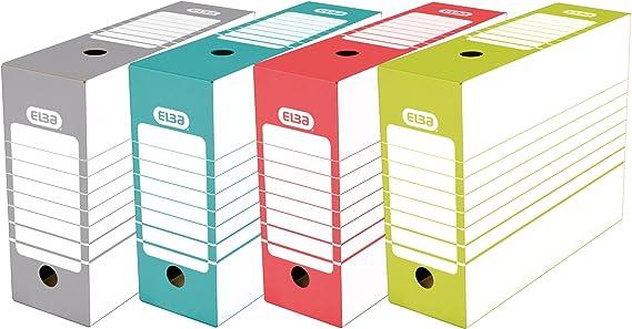 Elba 400064941 - Pack de 20 cajas de archivo definitivo automontable, 10 cm, multicolor: Amazon.es: Oficina y papelería
