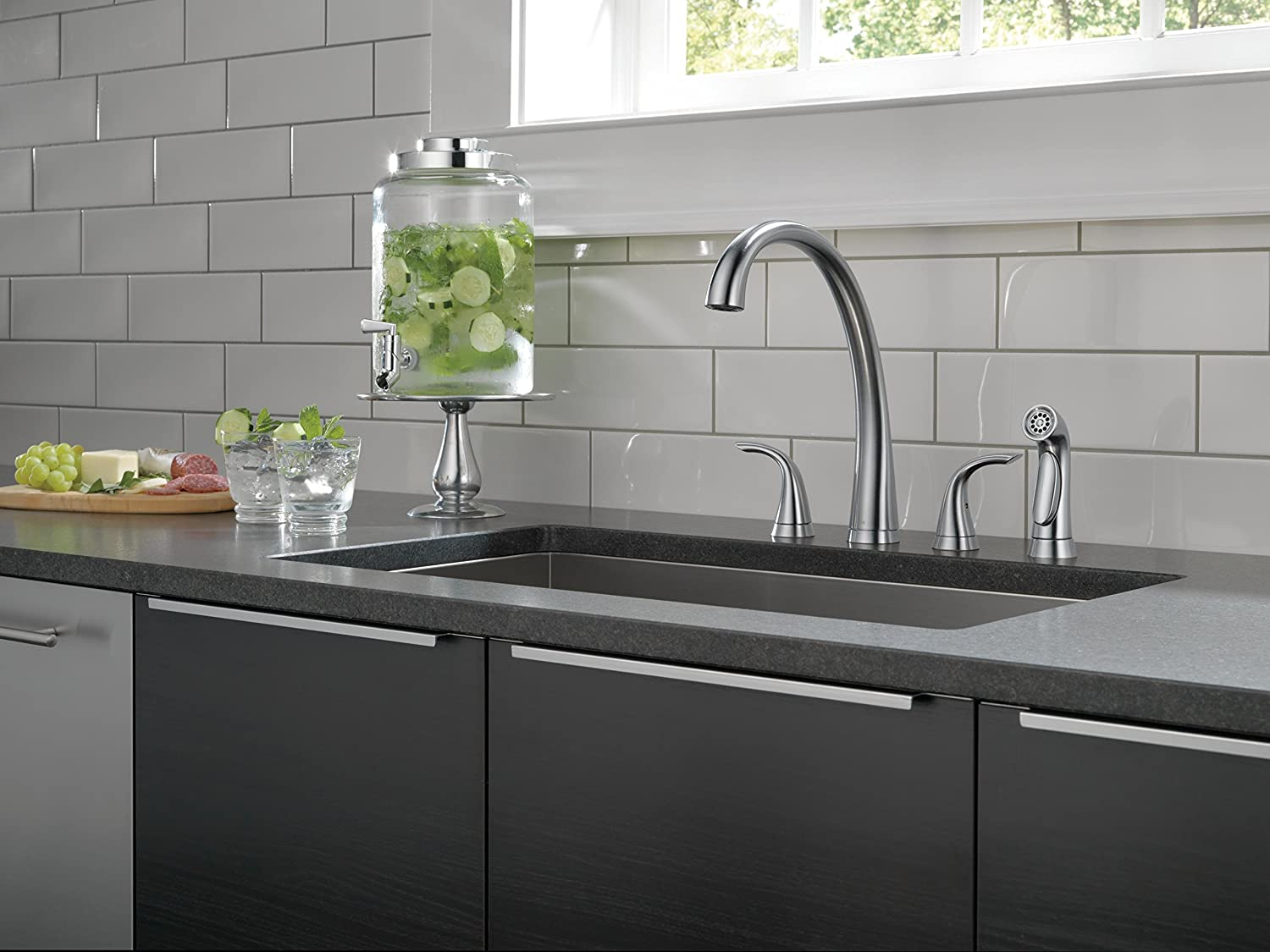 Delta 2480-AR-DST Pilar 2-Handle Widespread Kitchen Faucet with ...