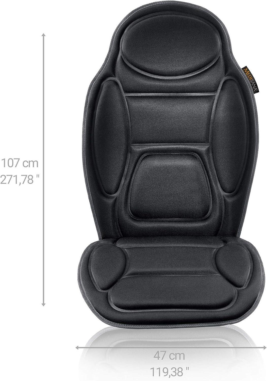 Medisana Mch Massagesitzauflage Für Das Auto Massageauflage Mit Vibration 5 Massageprogramme Autositzauflage Für Schulter Rücken Taillie Und Oberschenkel Sitzheizung Mit Wärmefunktion Drogerie Körperpflege