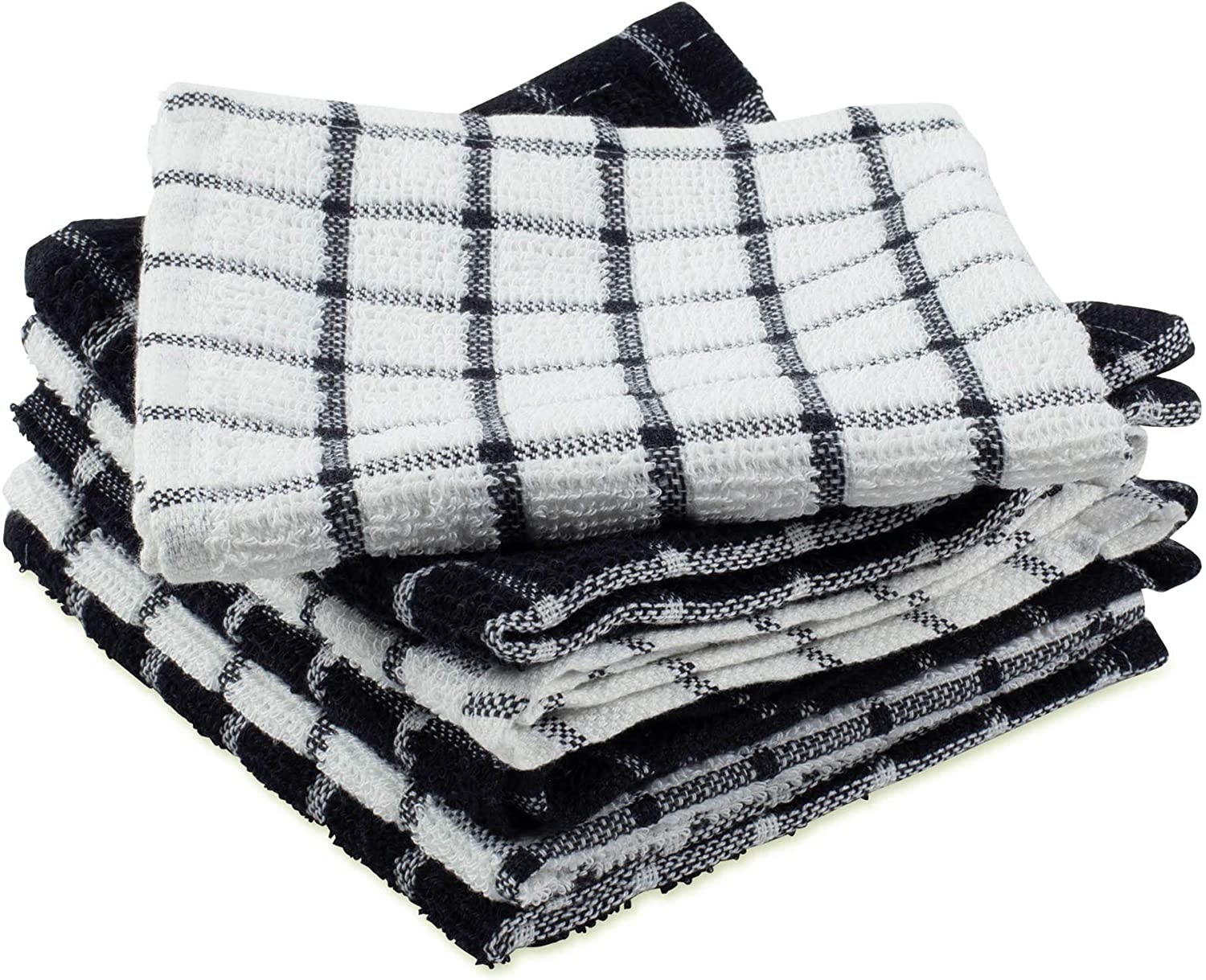 DII Cotton Terry Windowpane Dish Cloths 12 x 12 Set of 6 Machine Washable and Ultra Absorbent Kitchen Bar Towels-Solid Black