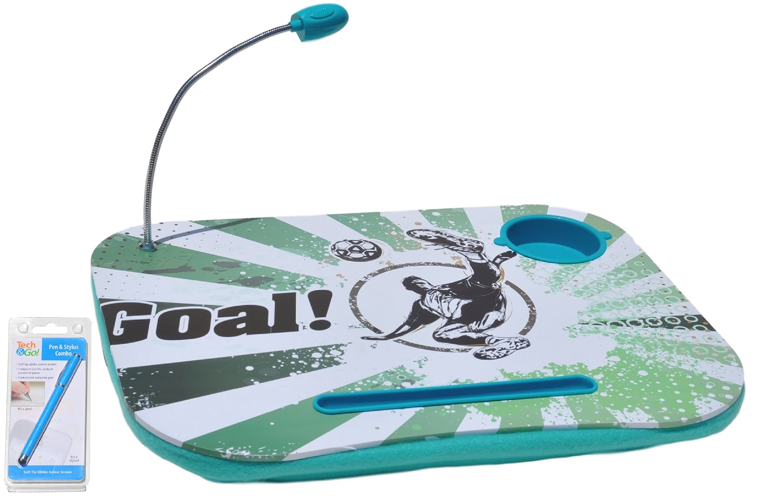 Green Soccer Back to School Portable Laptop Tablet Notebook Computer Lap Desk with Cup Holder Light Cushion Pillow for Girls Boys Teens Kids Adults with Stylus