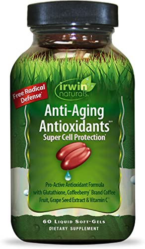 Irwin Naturals Anti-Aging Antioxidants – Free Radical Defense with Glutathione, Grape Seed Extract Coffee Berry – 60 Liquid Softgels