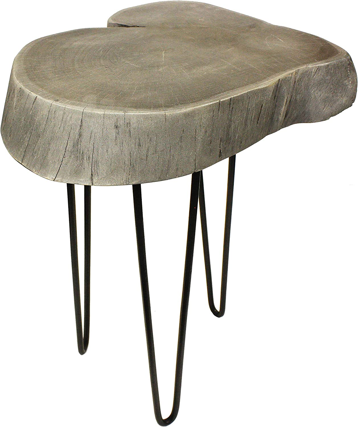 """Mountain Woods Live Edge Side Table/Stool Made with Hand Selected Organic Acacia Wood, Modern Grey Finished, 17""""X17""""X20"""""""