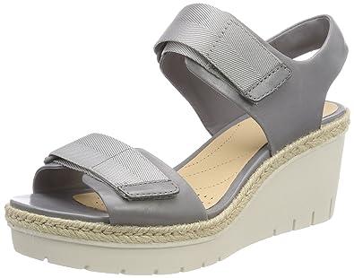 81b6a4a216e1d Clarks Palm Shine, Sandales Bride Cheville Femme, Gris (Grey Leather), 36