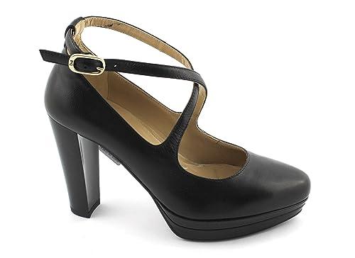 NERO GIARDINI 19640 nero scarpe donna tacco plateaux cinturino