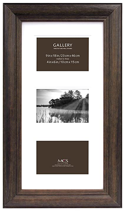 Amazon.com: MCS 9x18 Inch Wide Wood Frame with Matted to 3 to 4 by 6 ...