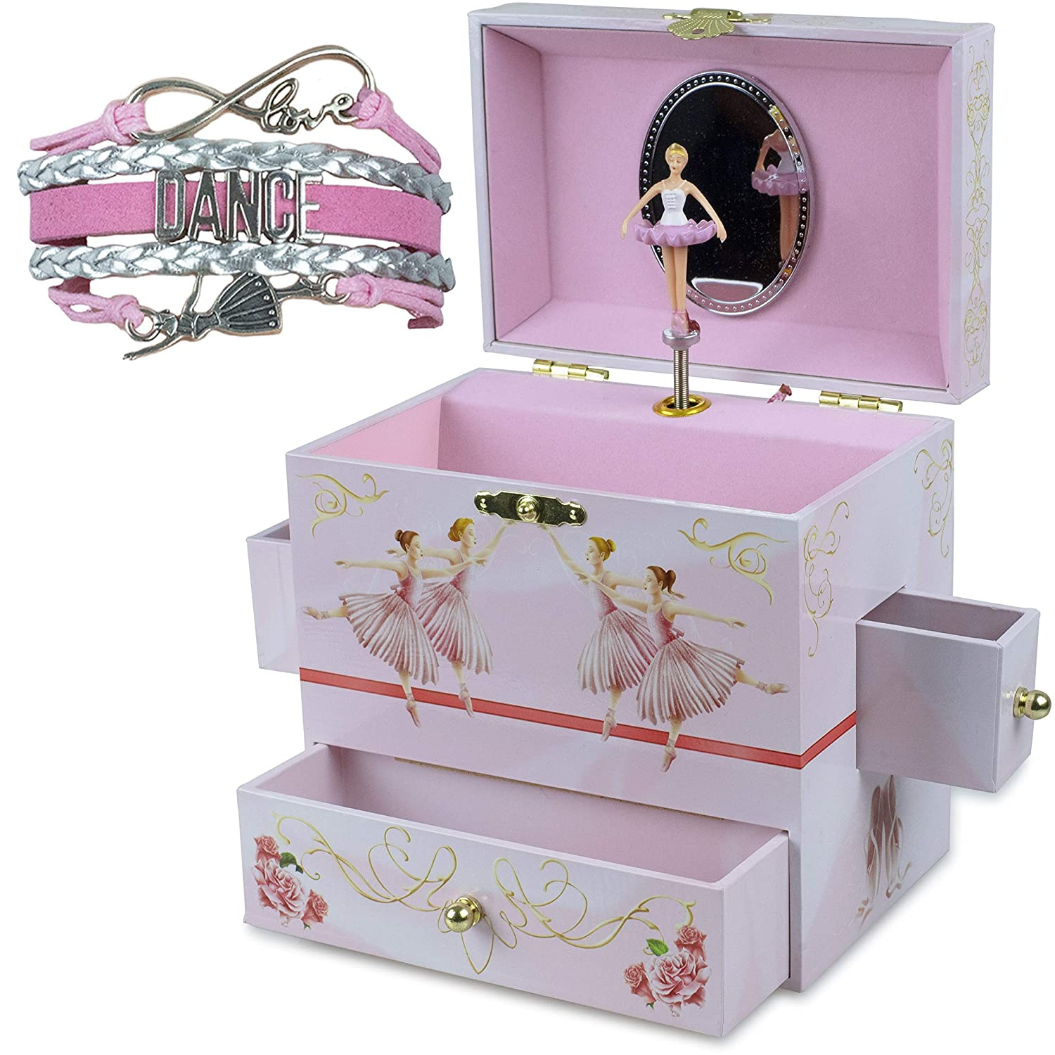 ShameOnJane Beautiful Ballerina Jewelry Box - A Music Box for Girls with Four Drawers and The Music of Swan Lake, a Perfect First Jewelry Box for Little Girls - and a Bonus Dance Bracelet!
