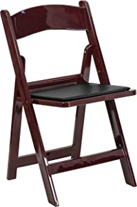 Flash Furniture HERCULES Series 1000 lb. Capacity Red Mahogany Resin Folding Chair with Black Vinyl Padded Seat